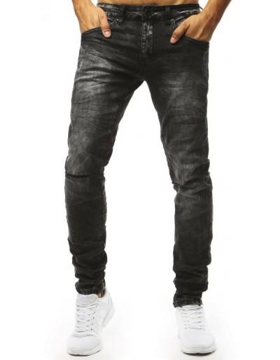 Černé džíny s dírami na kolenou UX1323