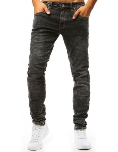Černé džíny s dírami na kolenou UX1324