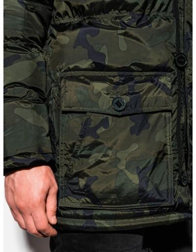 Men's winter parka jacket C355 - green/camo