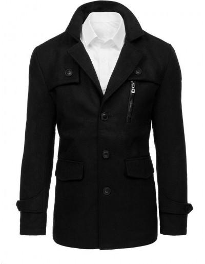 Pánský černý kabát CX0377