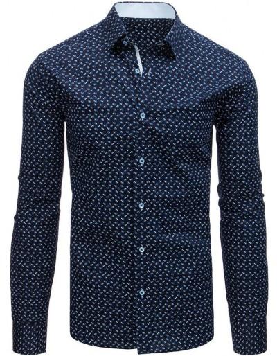 Pánská elegantní košile se vzory tmavě modré DX1525