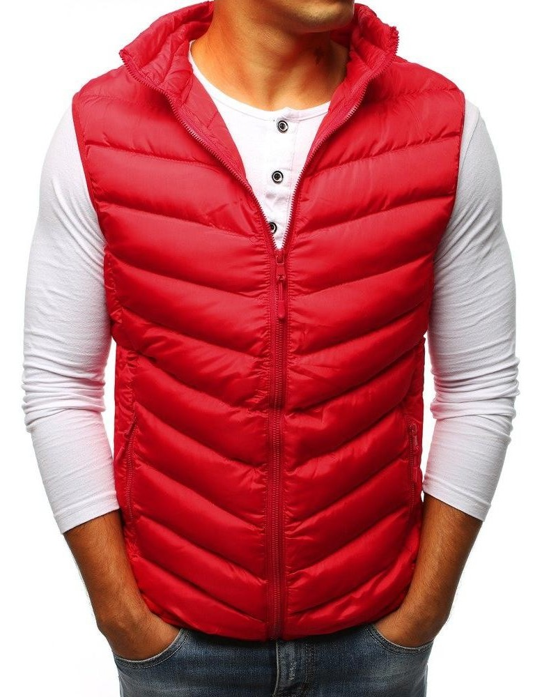 Pánská prošívaná červená vesta TX2293