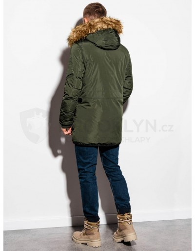 Men's winter parka jacket C369 - khaki