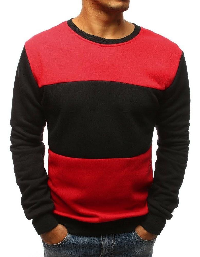 Černo-červená pánská mikina bez čepice BX3656
