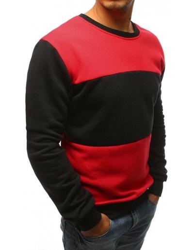 Černo-červená pánská mikina bez kapuce BX3656