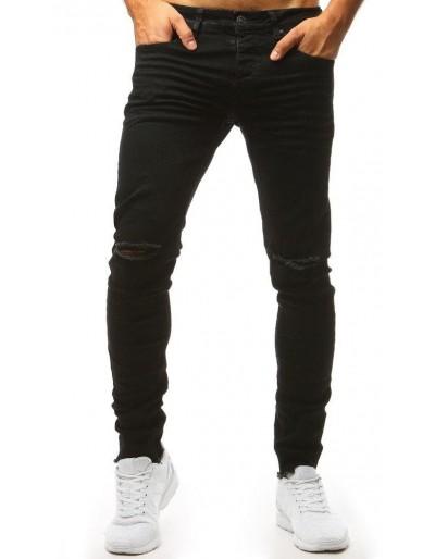 Černé kalhoty s otvory na kolenou UX1435