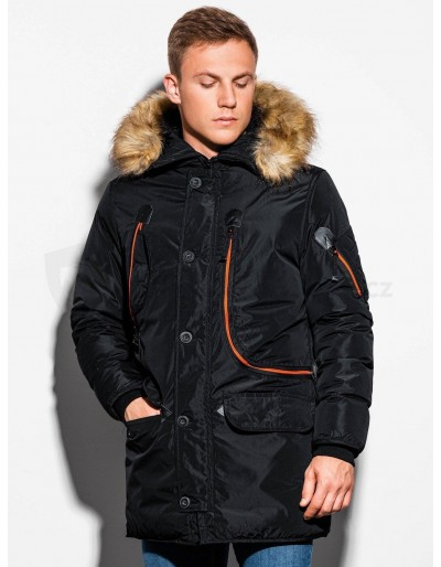 Men's winter parka jacket C369 - black