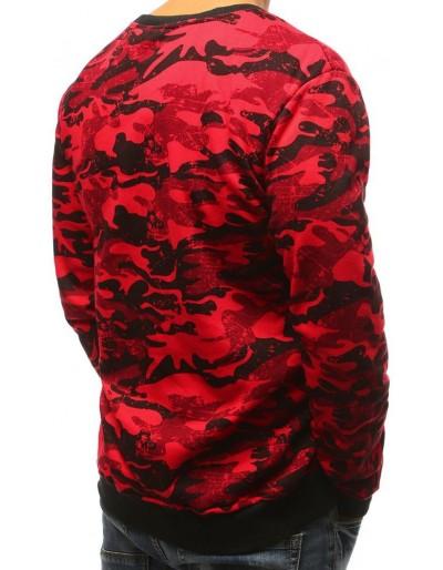 Červená pánská mikina bez kapuce s potiskem BX3679