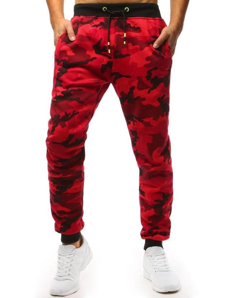 Červené pánské maskáčové jogger tepláky UX1467