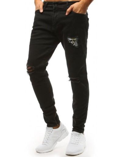 Spodnie jeansowe męskie czarne UX1472