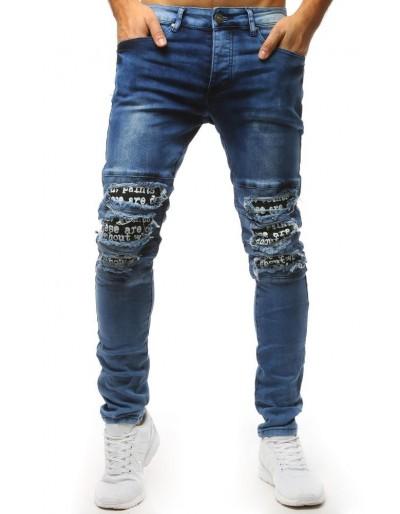 Modré džíny s roztrhanými koleny a potiskem UX1531