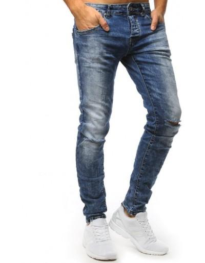 Modré pánské džíny s děravými koleny UX1543