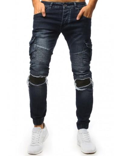 Tmavě modré prakthané džíny s motorkářskými detaily UX1545