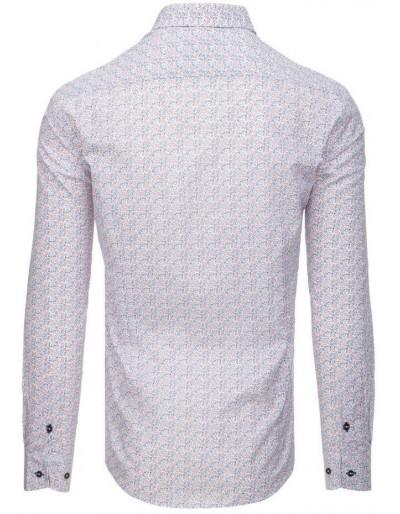Koszula męska elegancka we wzory biała DX1560