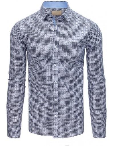 Pánská elegantní košile se vzory v bílé a tmavě modré barvě DX1563