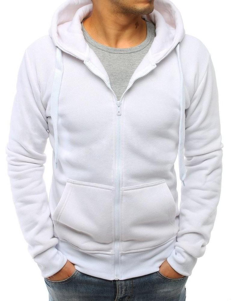 Bílá pánská mikina s kapucí BX3688