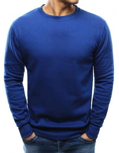 Modrá pánská mikina bez kapání BX3695