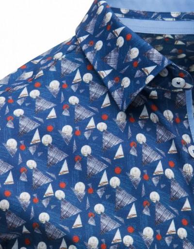 Koszula męska elegancka we wzory jeansowa DX1644