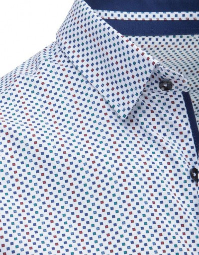Koszula męska elegancka we wzory biała DX1647