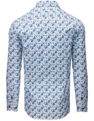Elegancka koszula męska we wzory biała DX1674