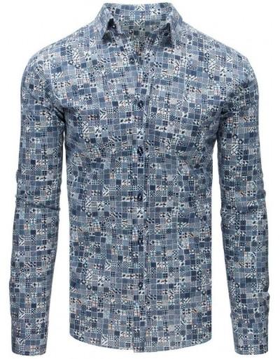Elegantní pánské tričko s modrými vzory DX1677