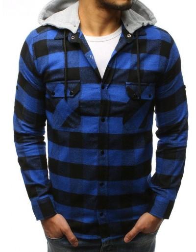 Pánská modrá a černá kostkovaná košile DX1695
