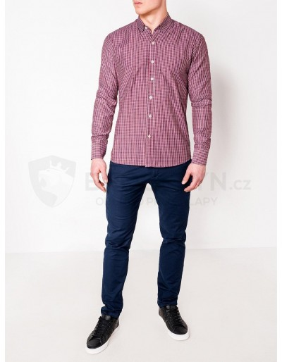Men's check shirt with long sleeves K437 - red
