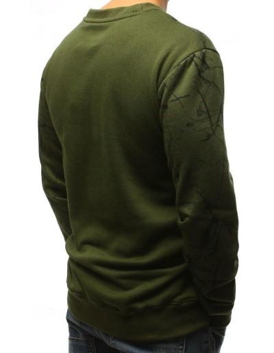 Zelená pánská mikina bez kapuce s potiskem BX3723