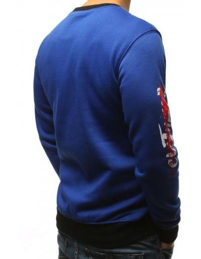 Modrá pánská mikina bez kapuce s potiskem BX3736