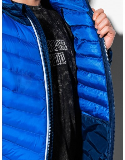 Men's mid-season quilted jacket C366 - blue/navy