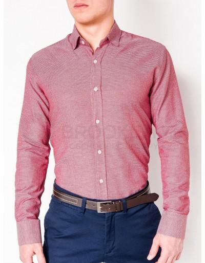 Pánská elegantní košile s dlouhým rukávem K442 - červená