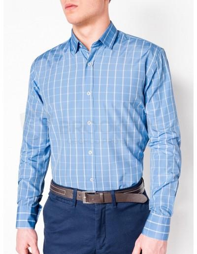 Pánská kostkovaná košile s dlouhým rukávem K445 - světle modrá