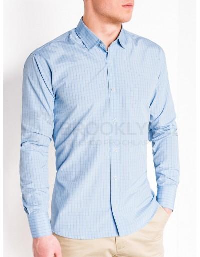 Pánská kostkovaná košile s dlouhým rukávem K446 - světle modrá