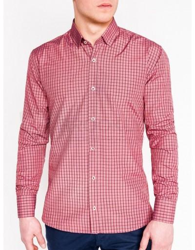Pánská kostkovaná košile s dlouhým rukávem K446 - červená