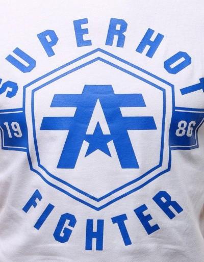 T-shirt męski z nadrukiem biały RX2977