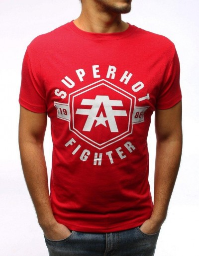 T-shirt męski z nadrukiem czerwony RX2978