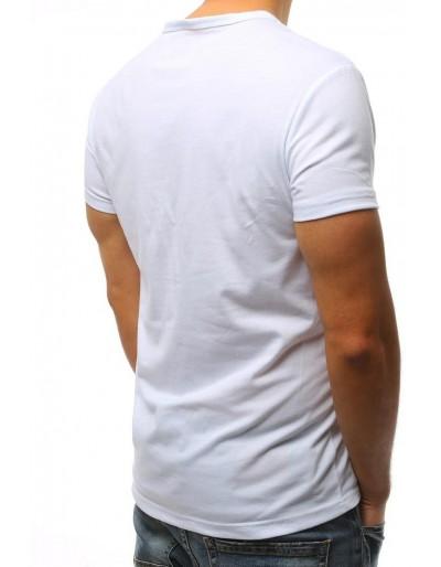 T-shirt męski z nadrukiem biały RX2999