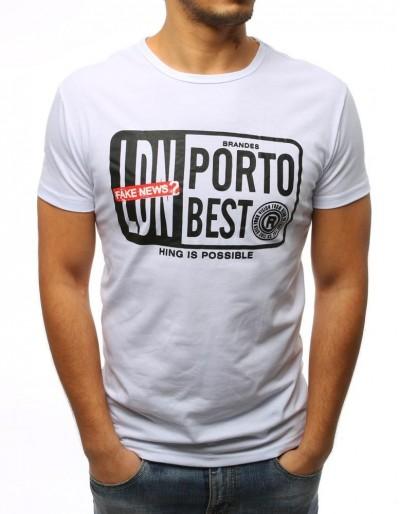 T-shirt męski z nadrukiem biały RX3025