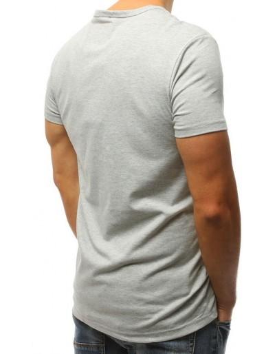 T-shirt męski z nadrukiem jasnoszary RX3026