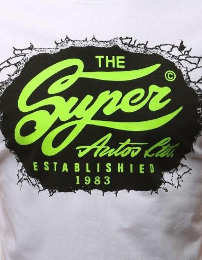 T-shirt męski z nadrukiem biały RX3032