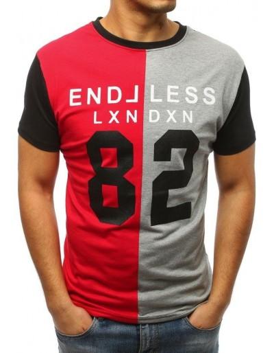 Pánské tričko s červeným a šedým potiskem RX3037