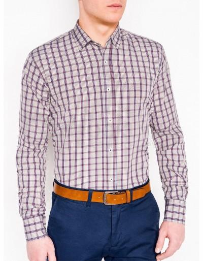 Pánská kostkovaná košile s dlouhým rukávem K450 - béžová