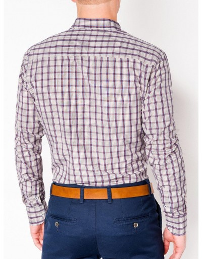 Men's check shirt with long sleeves K450 - beige