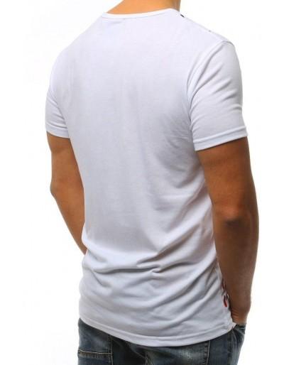 T-shirt męski z nadrukiem biały RX3064