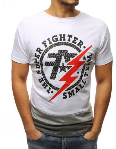 T-shirt męski z nadrukiem biały RX3069