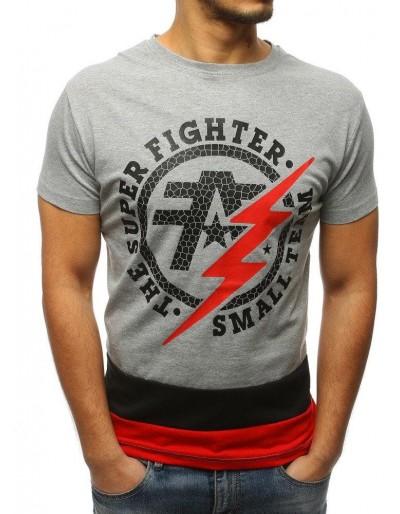 T-shirt męski z nadrukiem szary RX3070