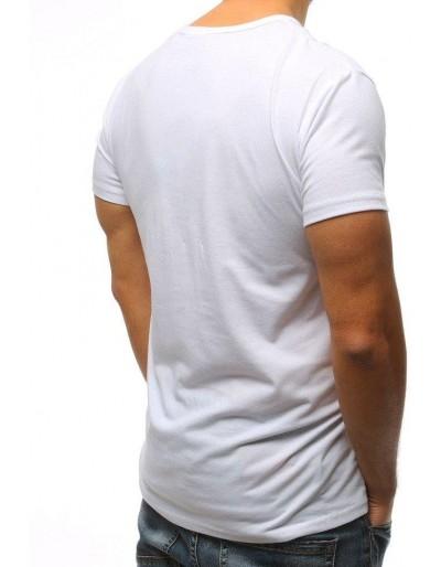 T-shirt męski z nadrukiem biały RX3072