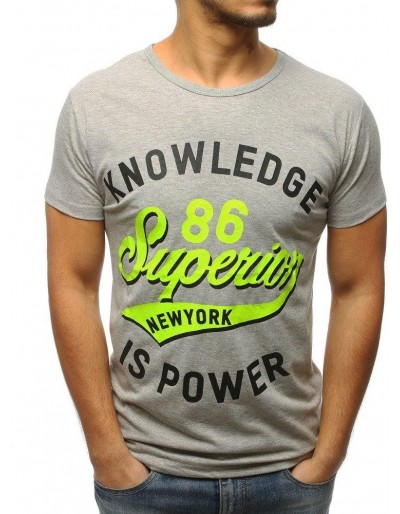 Šedé pánské tričko RX3073 s potiskem