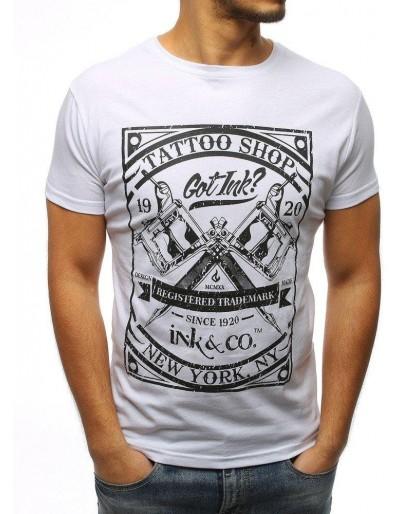 Bílé pánské tričko RX3076 s potiskem