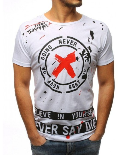 Bílé pánské tričko RX3078 s potiskem